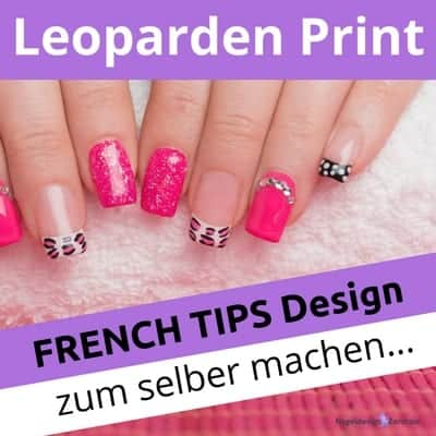 leoparden print french tips design zum selber machen nageldesign zentrale. Black Bedroom Furniture Sets. Home Design Ideas